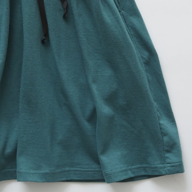 waist gather dress green img3