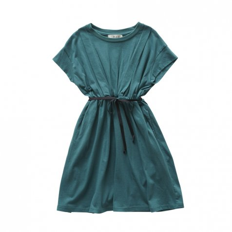 waist gather dress green
