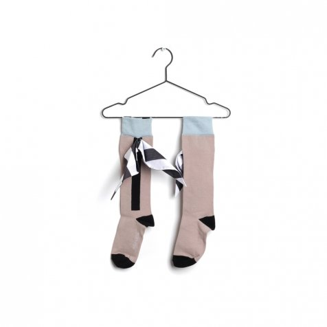【30%OFF】LONG SOCKS BOW WHITE STRIPES