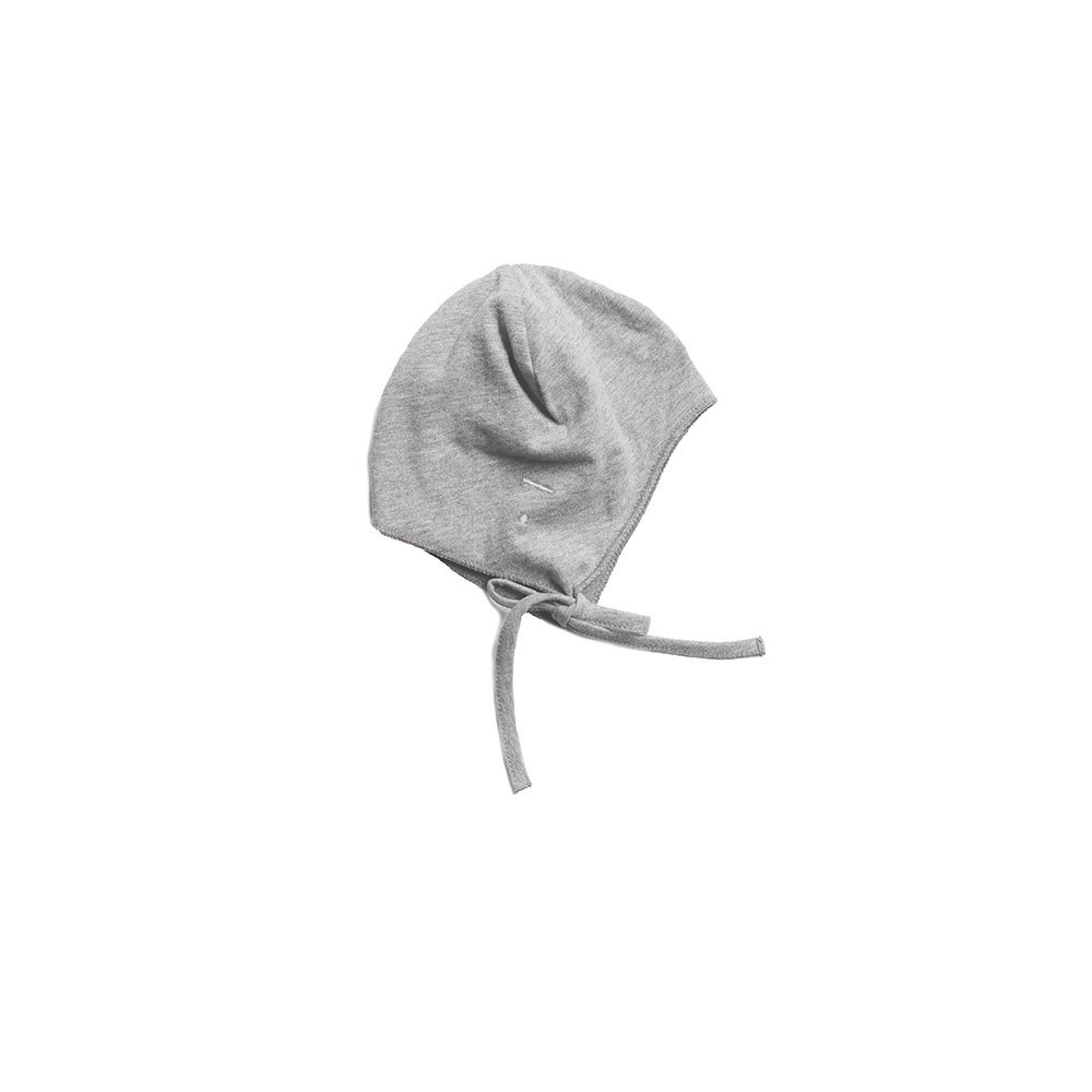 Baby Hat with Strings Grey Melange img