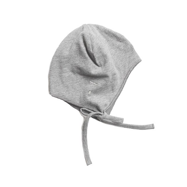 Baby Hat with Strings Grey Melange img1