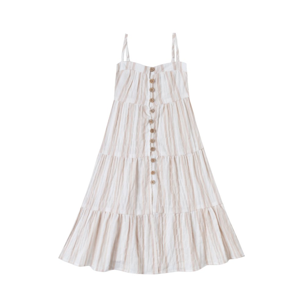 【50%OFF】sand stripe tiered maxi dress sand/coconut img