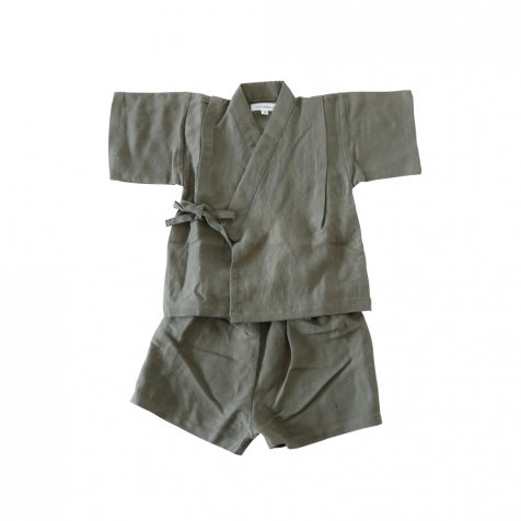 【SUMMER SALE 20%OFF】 Linen Jinbei Separate Khaki