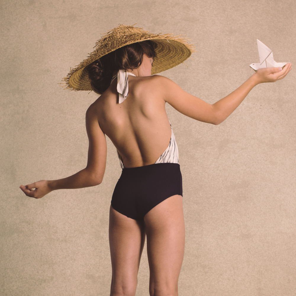 【SUMMER SALE 20%OFF】 Bamboo Wrap bathing suit Black img2