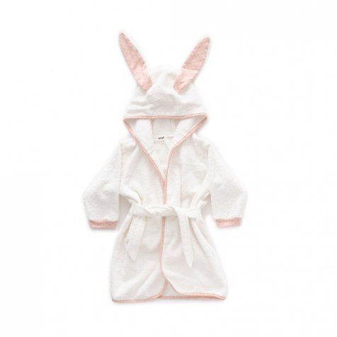 Hooded Robe light pink / rust dots