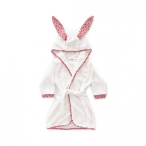 Hooded Robe dark pink / tulips