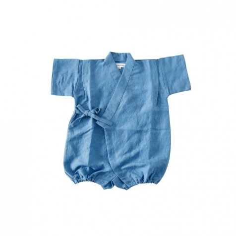【SUMMER SALE 20%OFF】 Linen Jinbei Rompers Blue