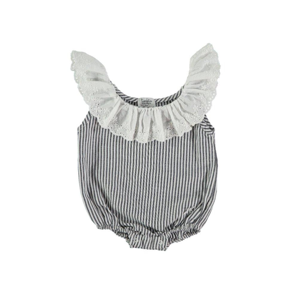 S42619. Striped body with swiss embroidery frill img
