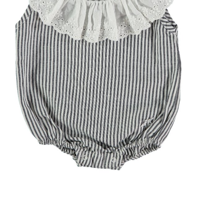 S42619. Striped body with swiss embroidery frill img2