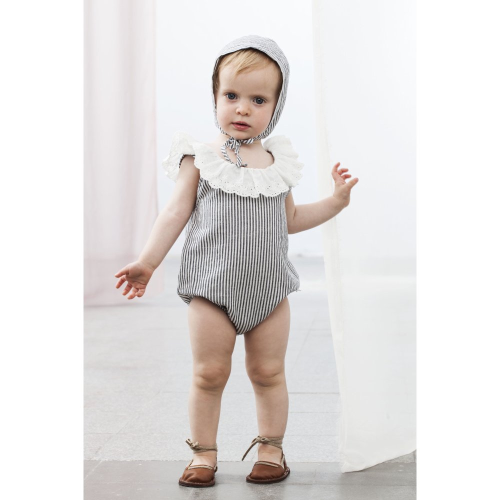 S42619. Striped body with swiss embroidery frill img3