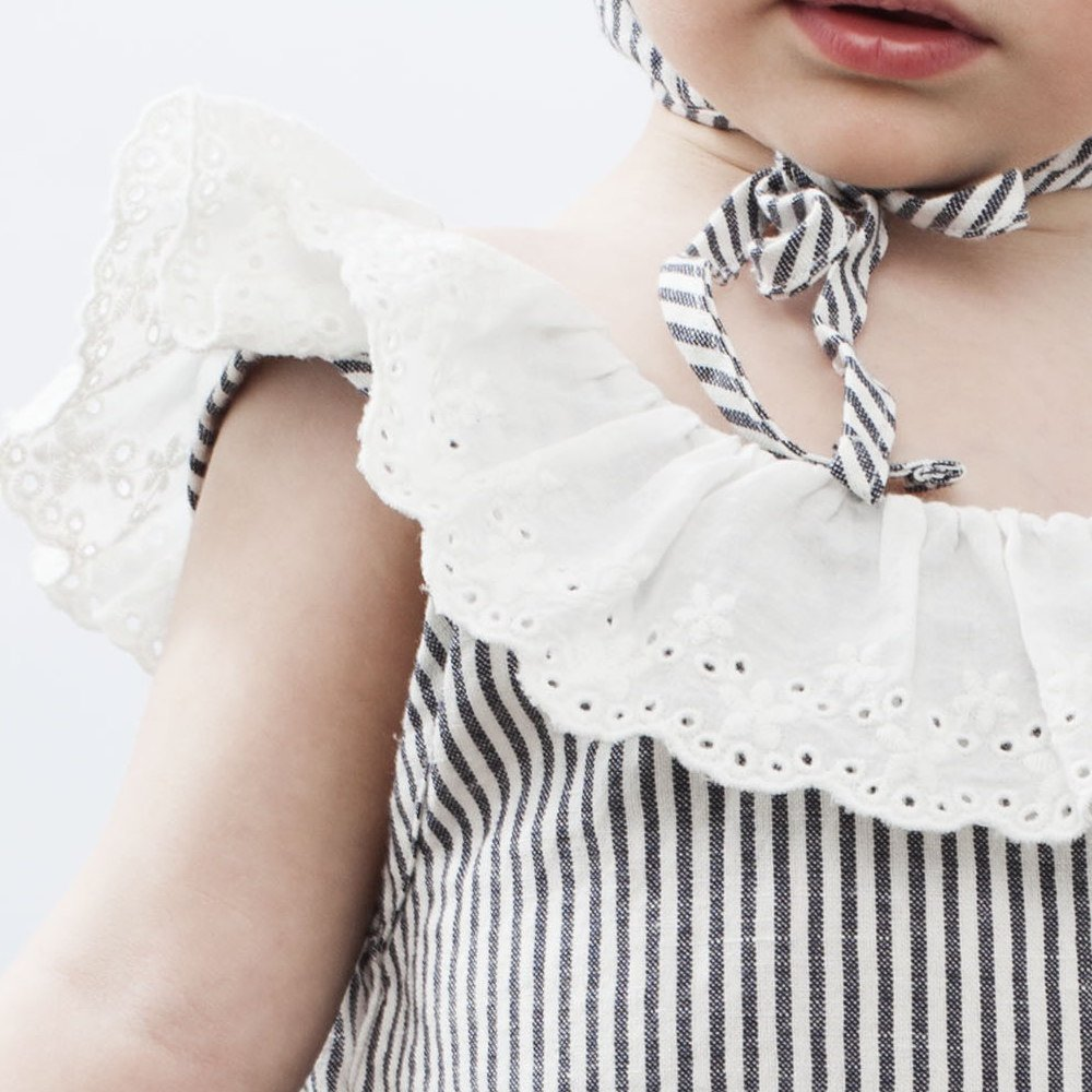S42619. Striped body with swiss embroidery frill img5