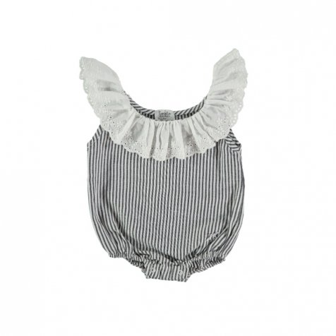 【20%OFF】S42619. Striped body with swiss embroidery frill