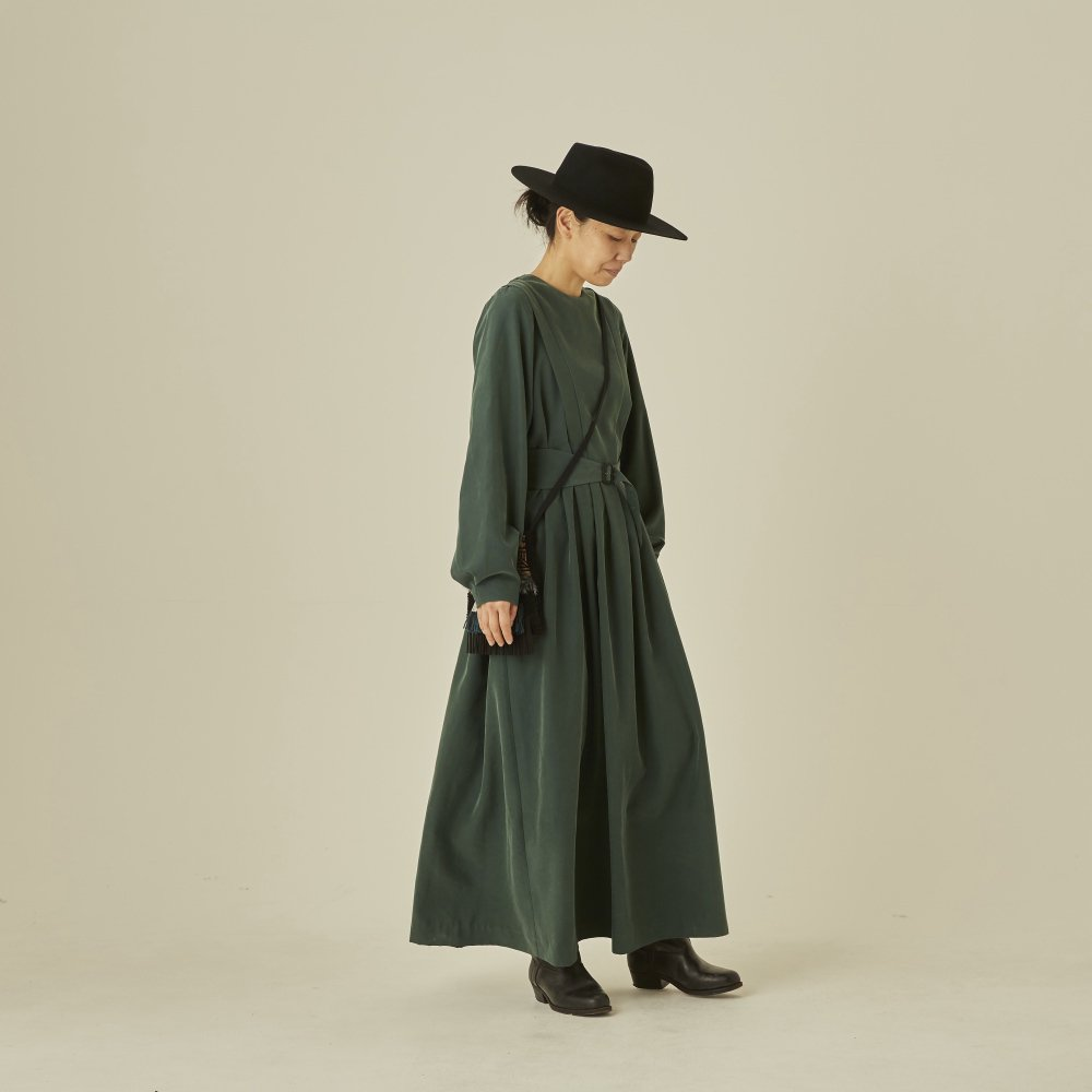 modal belted long dress green - adult img4