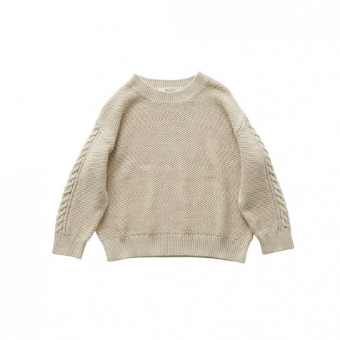 moss stitch sweater ivory - adult