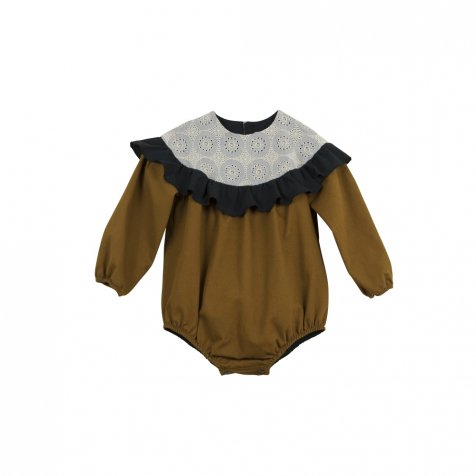 Ochre tone romper suit with yoke