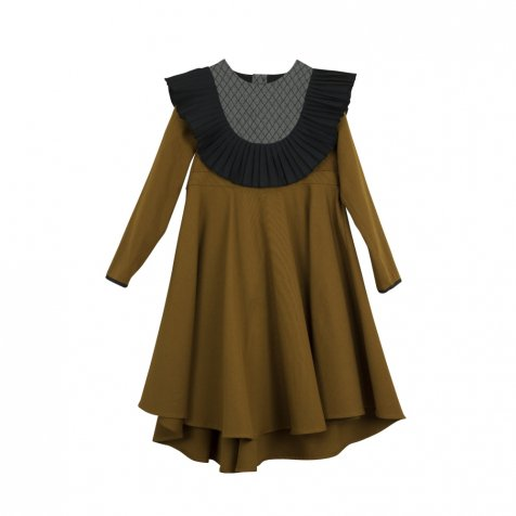 【30%OFF】Ochre tone pleated frill dress