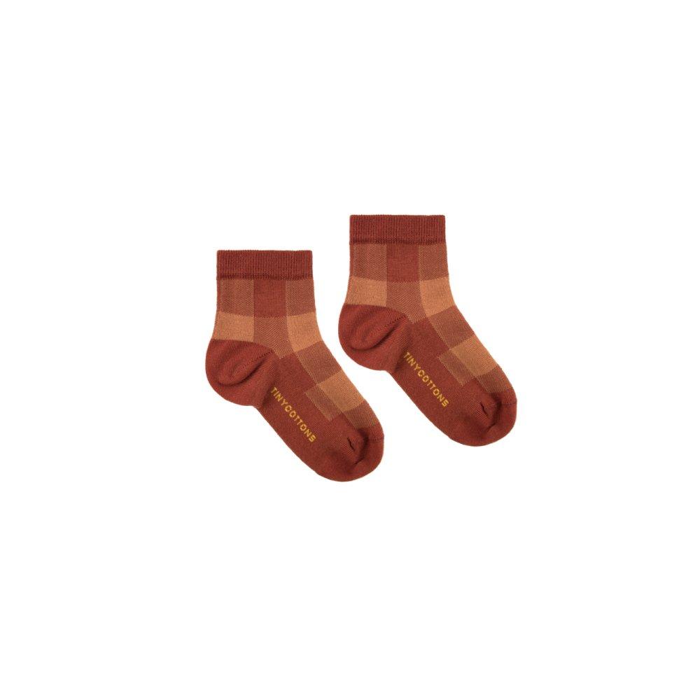 【30%OFF】CHECK QUARTER SOCKS dark brown/brown img