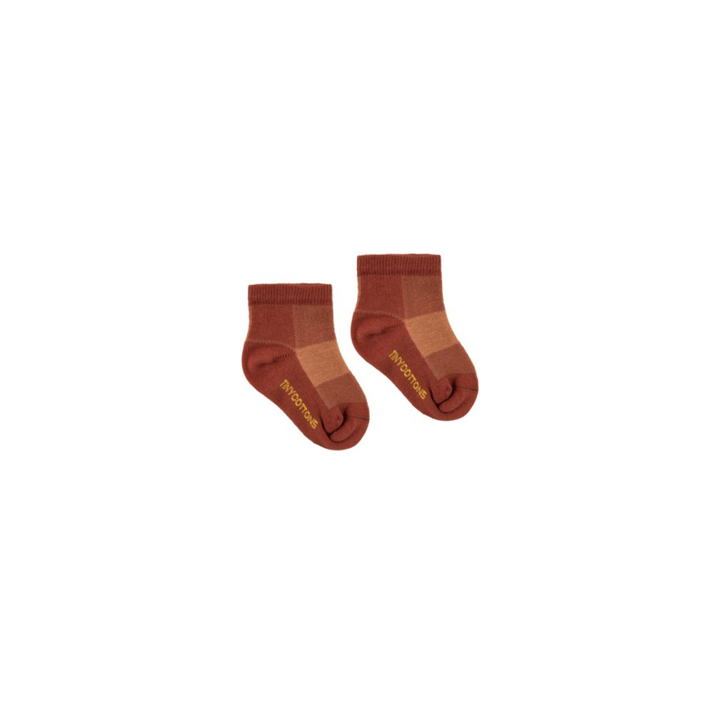 CHECK QUARTER SOCKS dark brown/brown img1