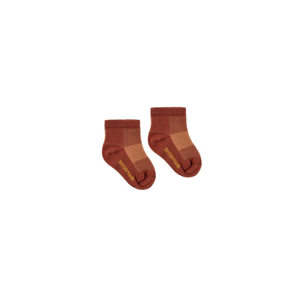 【30%OFF】CHECK QUARTER SOCKS dark brown/brown img1