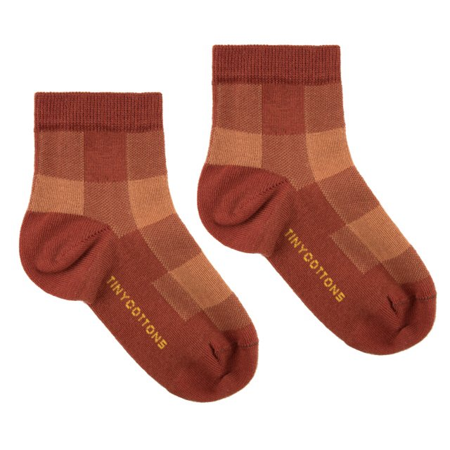 CHECK QUARTER SOCKS dark brown/brown img2