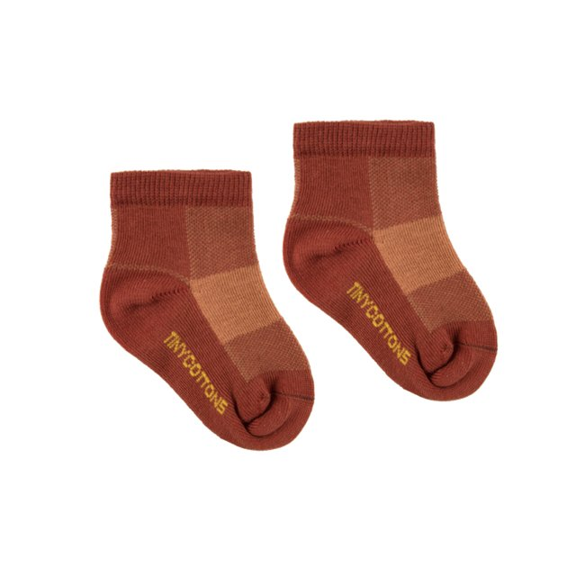CHECK QUARTER SOCKS dark brown/brown img3