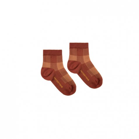 【40%OFF】CHECK QUARTER SOCKS dark brown/brown