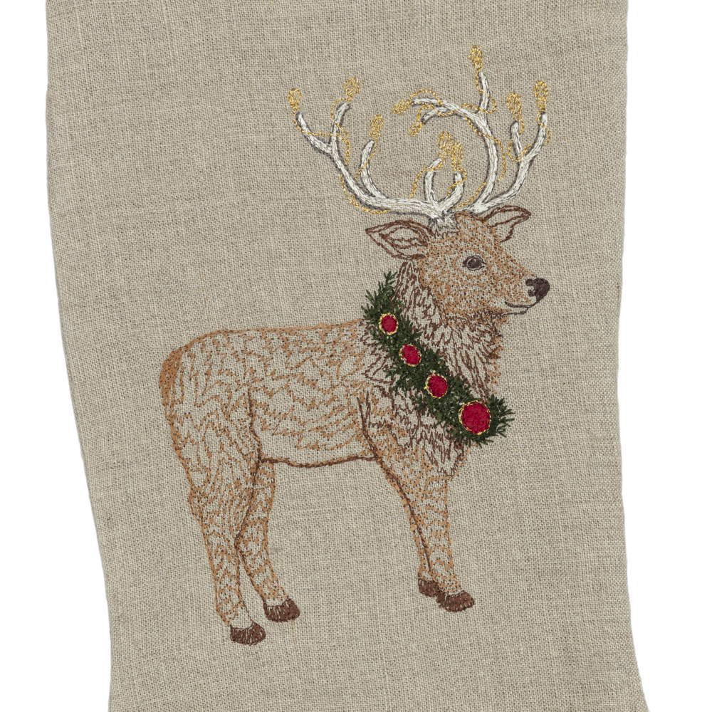 Elk with Christmas Wreath Small Stocking img1