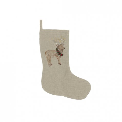 Elk with Christmas Wreath Small Stocking