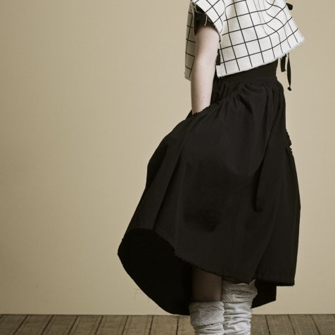 【20%OFF】Crushed Cotton Skirt Black
