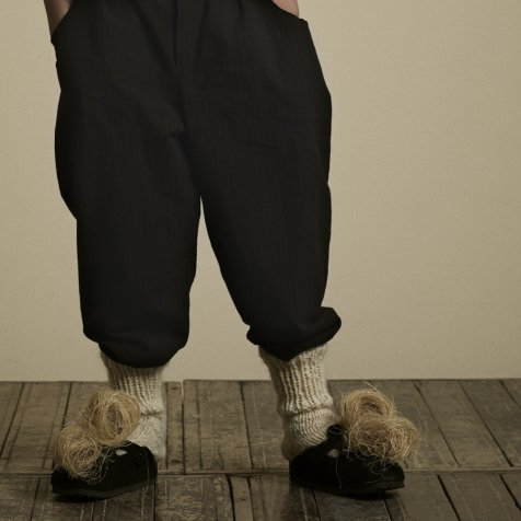 【20%OFF】Crushed Cotton Trousers Black
