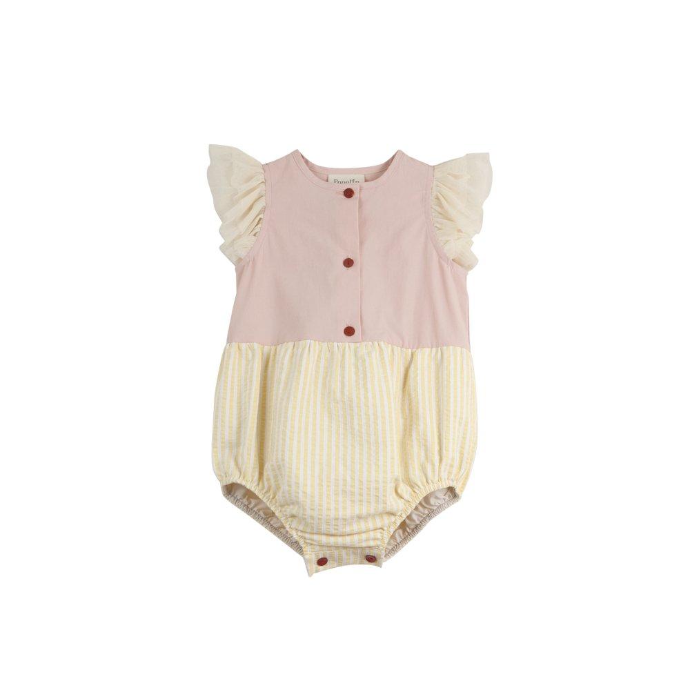 【40%OFF】Pink cutaway sleeve romper suit img1