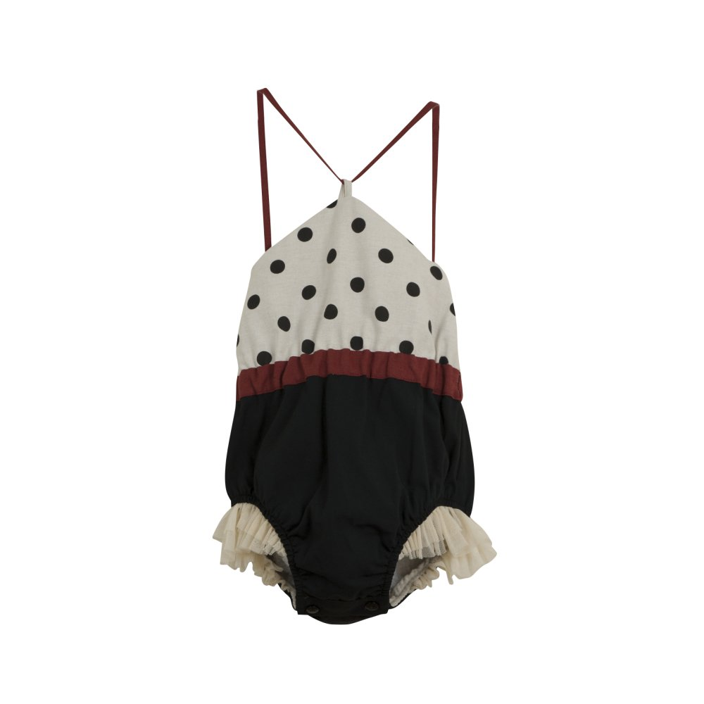 Reversible bathing-suit-style romper suit with black polka dot img1