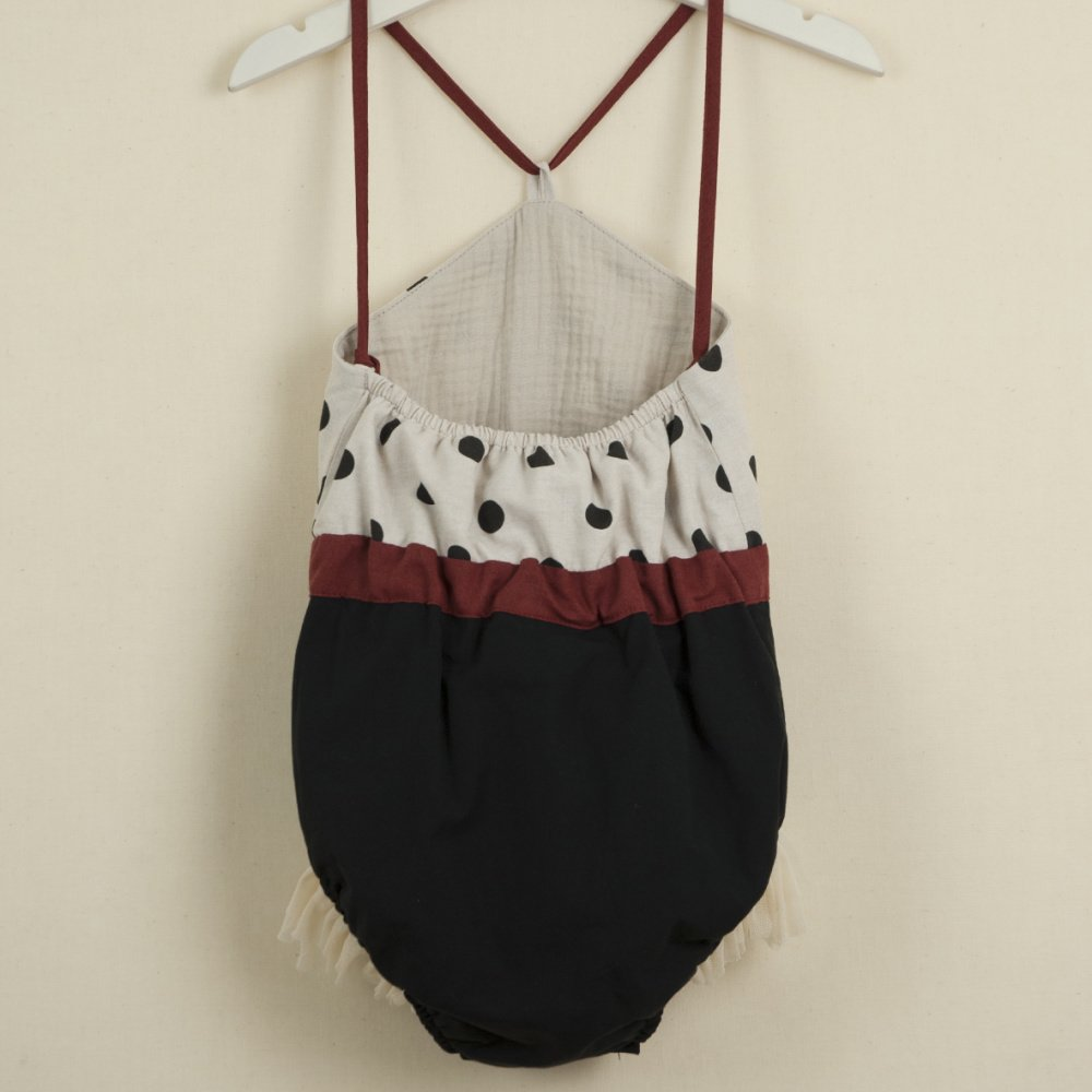 Reversible bathing-suit-style romper suit with black polka dot img3