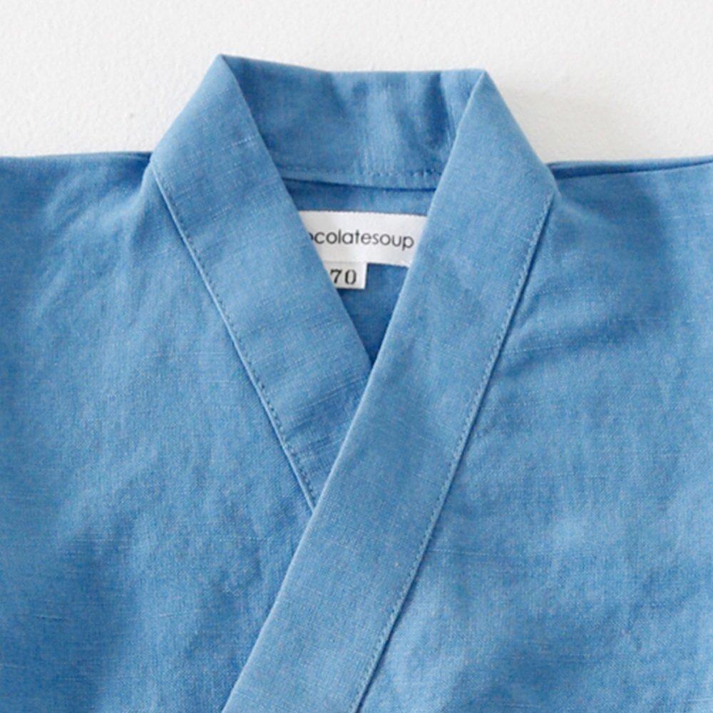 Linen Jinbei Rompers Blue img1