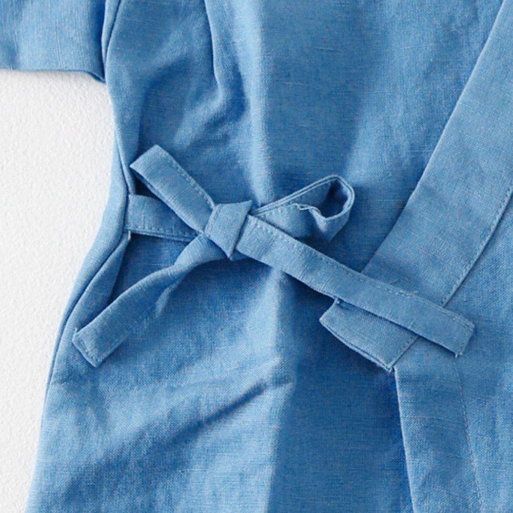 Linen Jinbei Rompers Blue img3