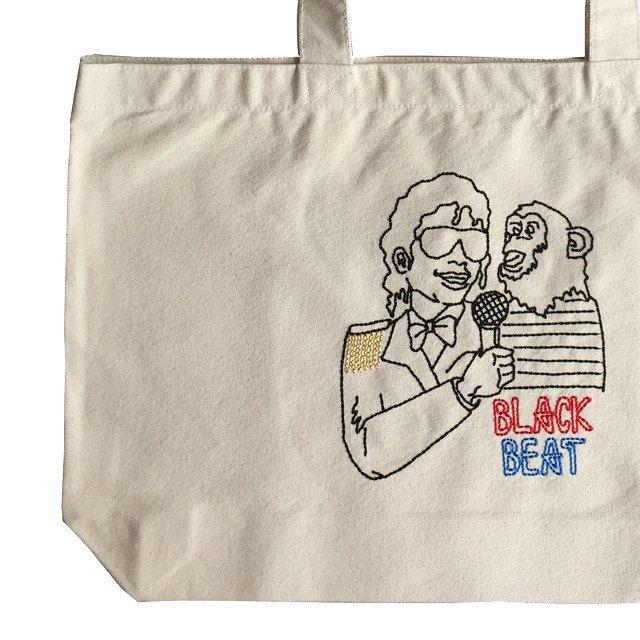 EMBROIDERED BIG TOTE BAG BLACK BEAT img3
