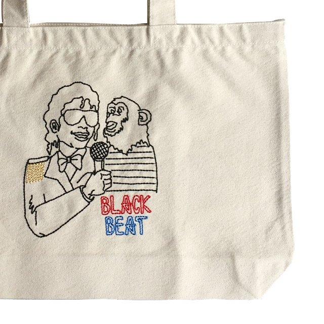 EMBROIDERED BIG TOTE BAG BLACK BEAT img4