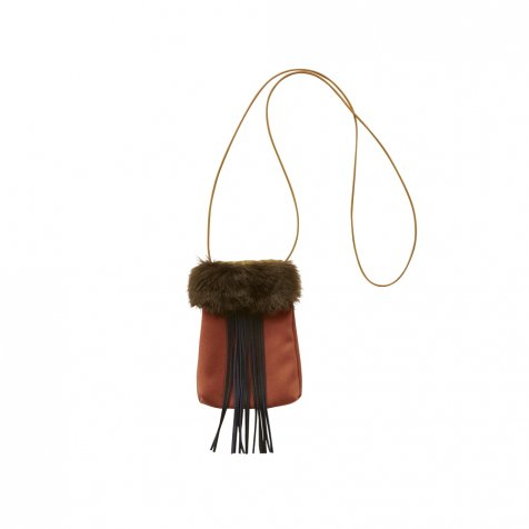 fringe pochette brick red