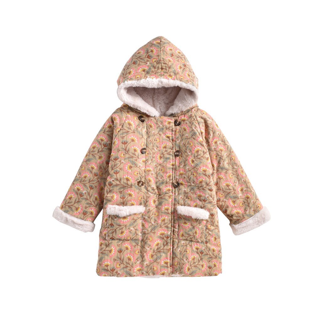Coat Bacani Khaki Folk Flowers img