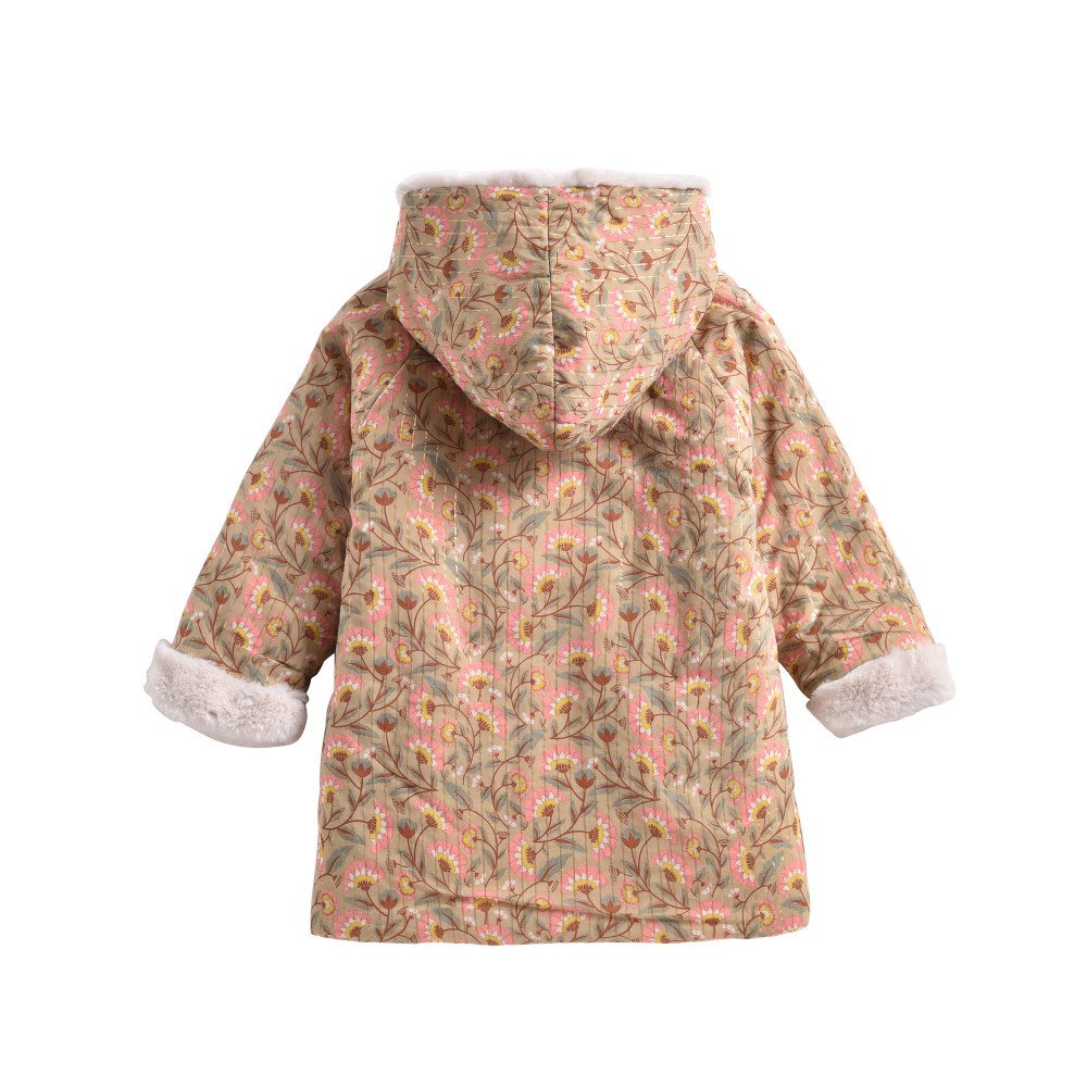 Coat Bacani Khaki Folk Flowers img1