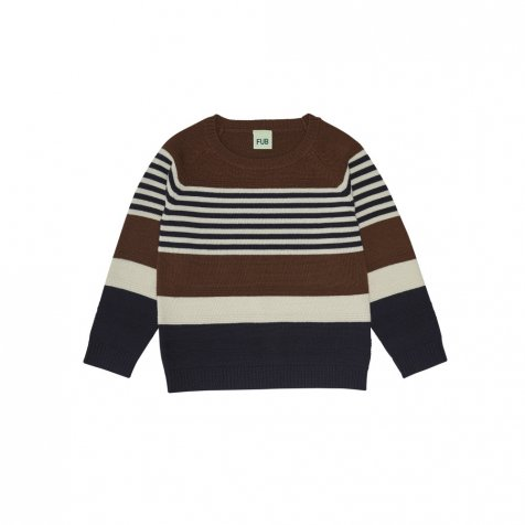 1420 AW Purlstriped blouse UMBER/ECRU/DARK NAVY