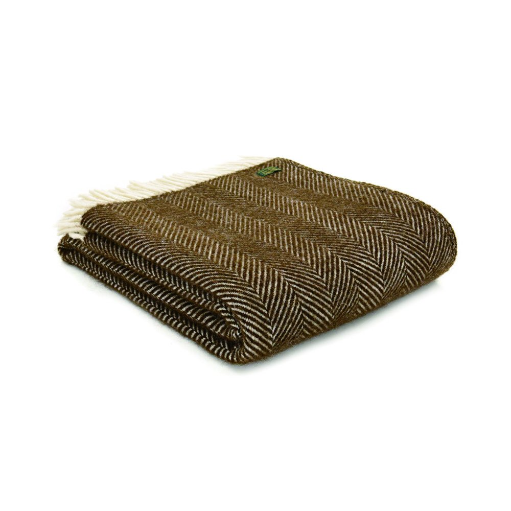 【20%OFF】Pure New Wool Shawl Fishbone Chocolate img