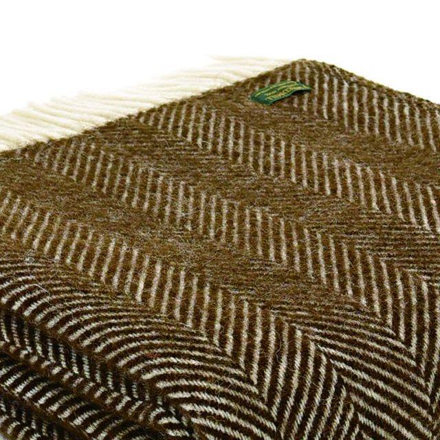 【20%OFF】Pure New Wool Shawl Fishbone Chocolate img1