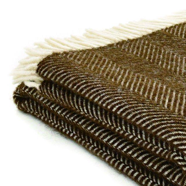 【20%OFF】Pure New Wool Shawl Fishbone Chocolate img2