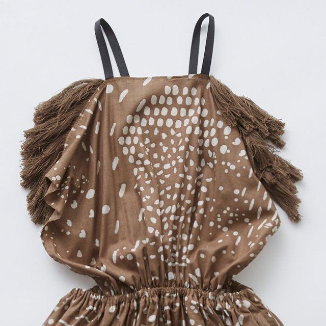 QiLin pinafore dress brown img1