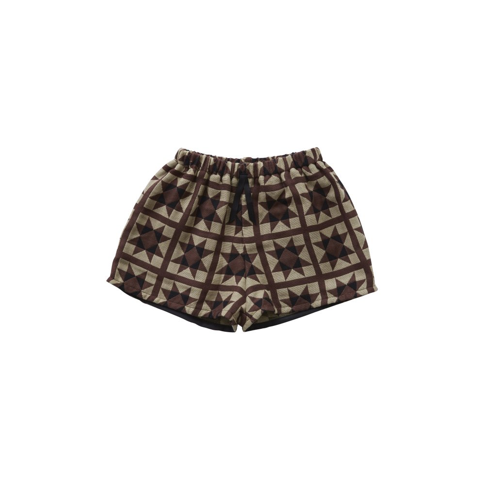 Amish quilt shorts brown img