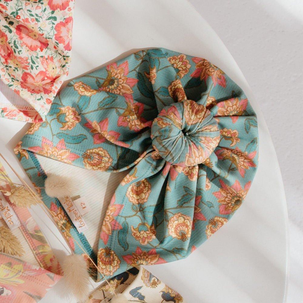 Bathing Turban Sylvania Turquoise Flowers img