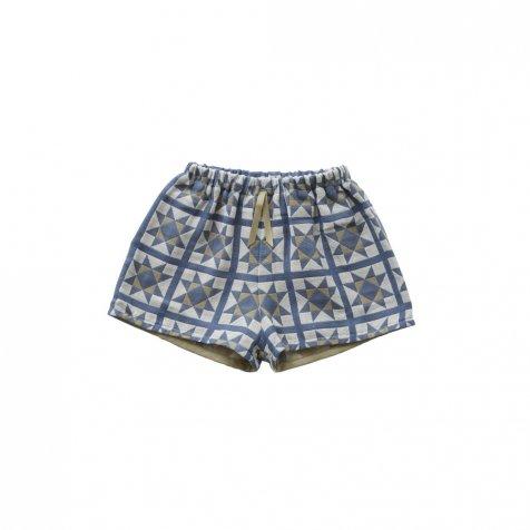 【2/18 22時再販・クーポン適用外】Amish quilt shorts smoke blue