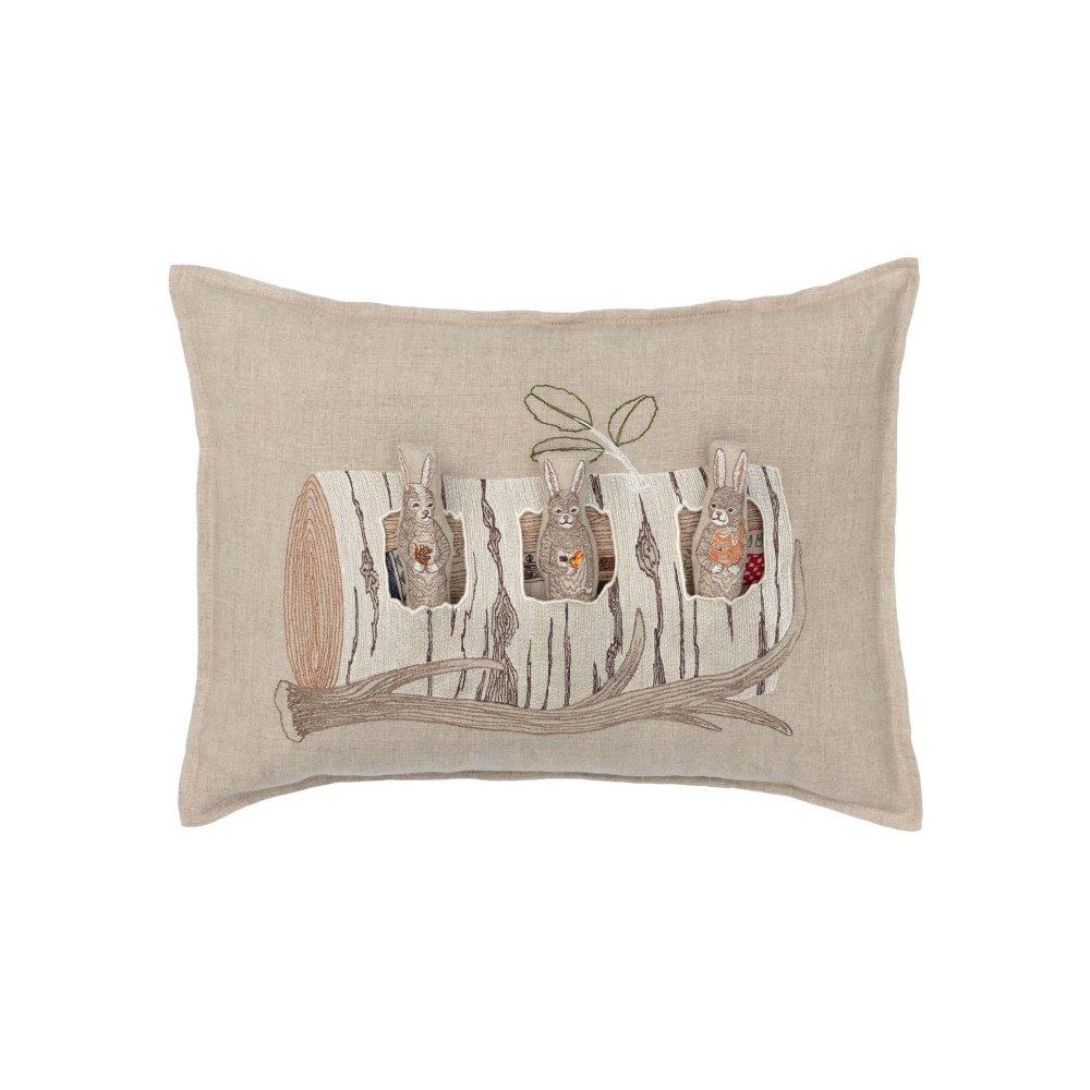 Aspen Log Bunnies Pocket Pillow (Cover Only) img
