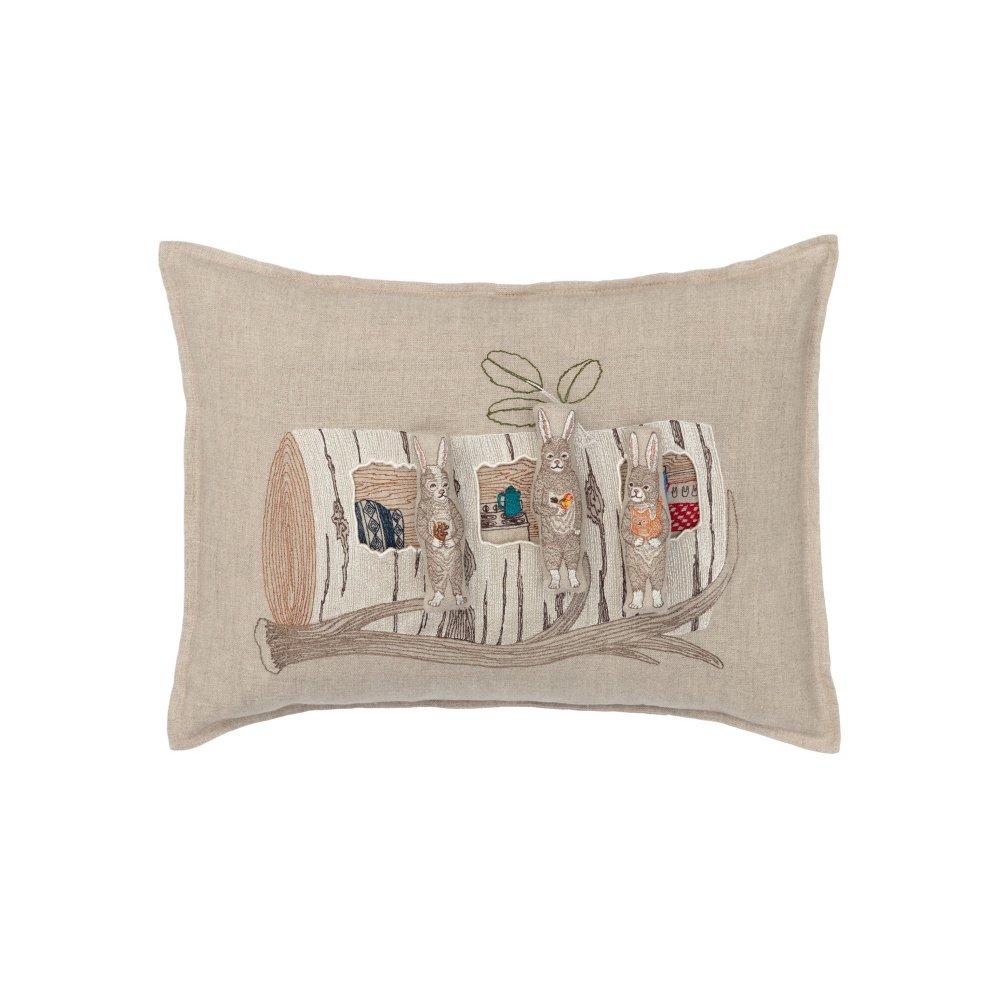 Aspen Log Bunnies Pocket Pillow (Cover Only) img1